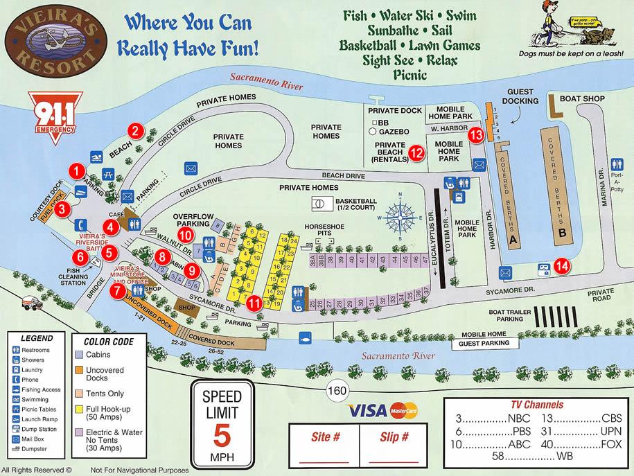 Resort Map – Vieira's Resort on the California Delta on